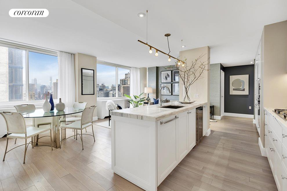 New York City Real Estate | View 389 East 89th Street, #28A | Open Kitchen with Miele Appliances