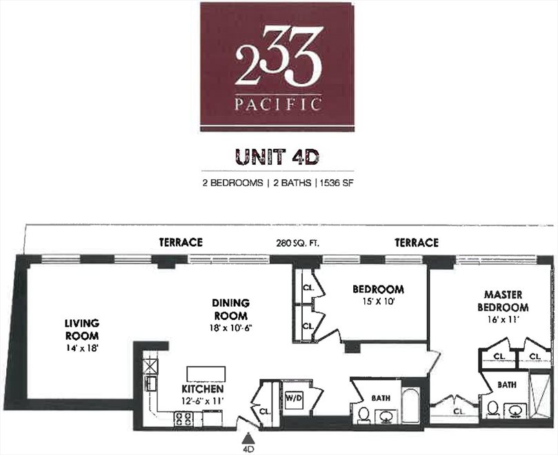 New York City Real Estate | View 233 Pacific Street, #4D | Floorplan 1