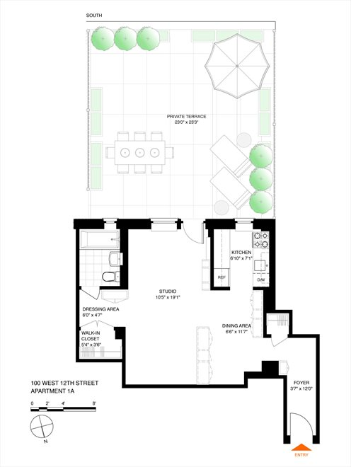 New York City Real Estate | View 100 West 12th Street, #1A | Floorplan