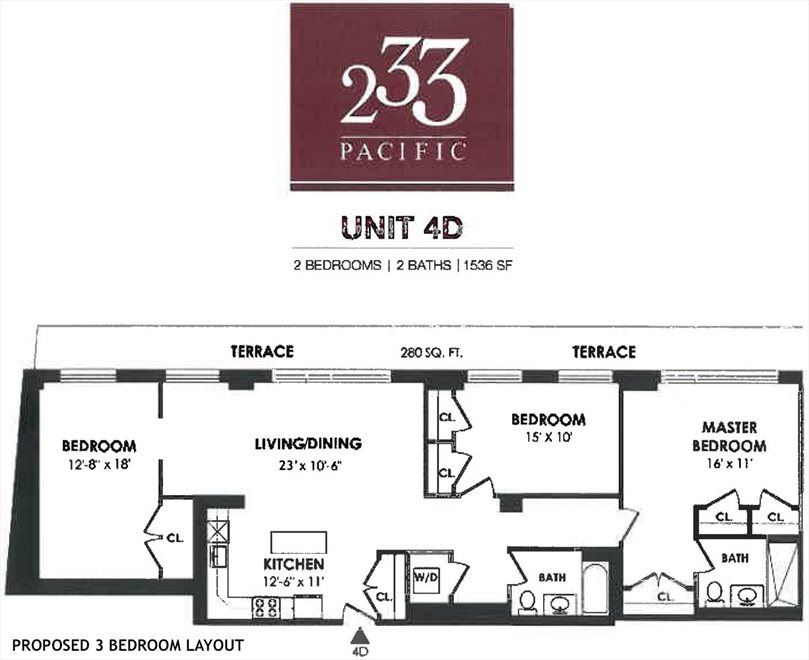 New York City Real Estate | View 233 Pacific Street, #4D | Floorplan 2