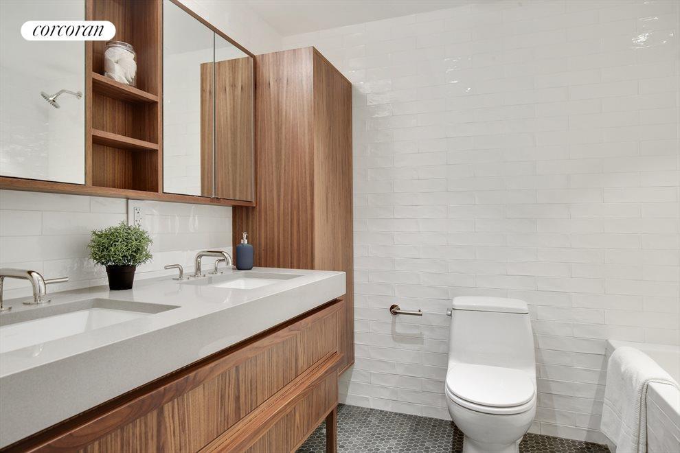 Bathroom with custom linen closet