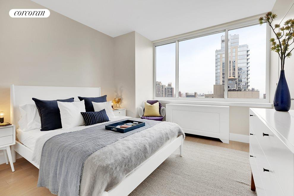 North facing second bedroom with city views