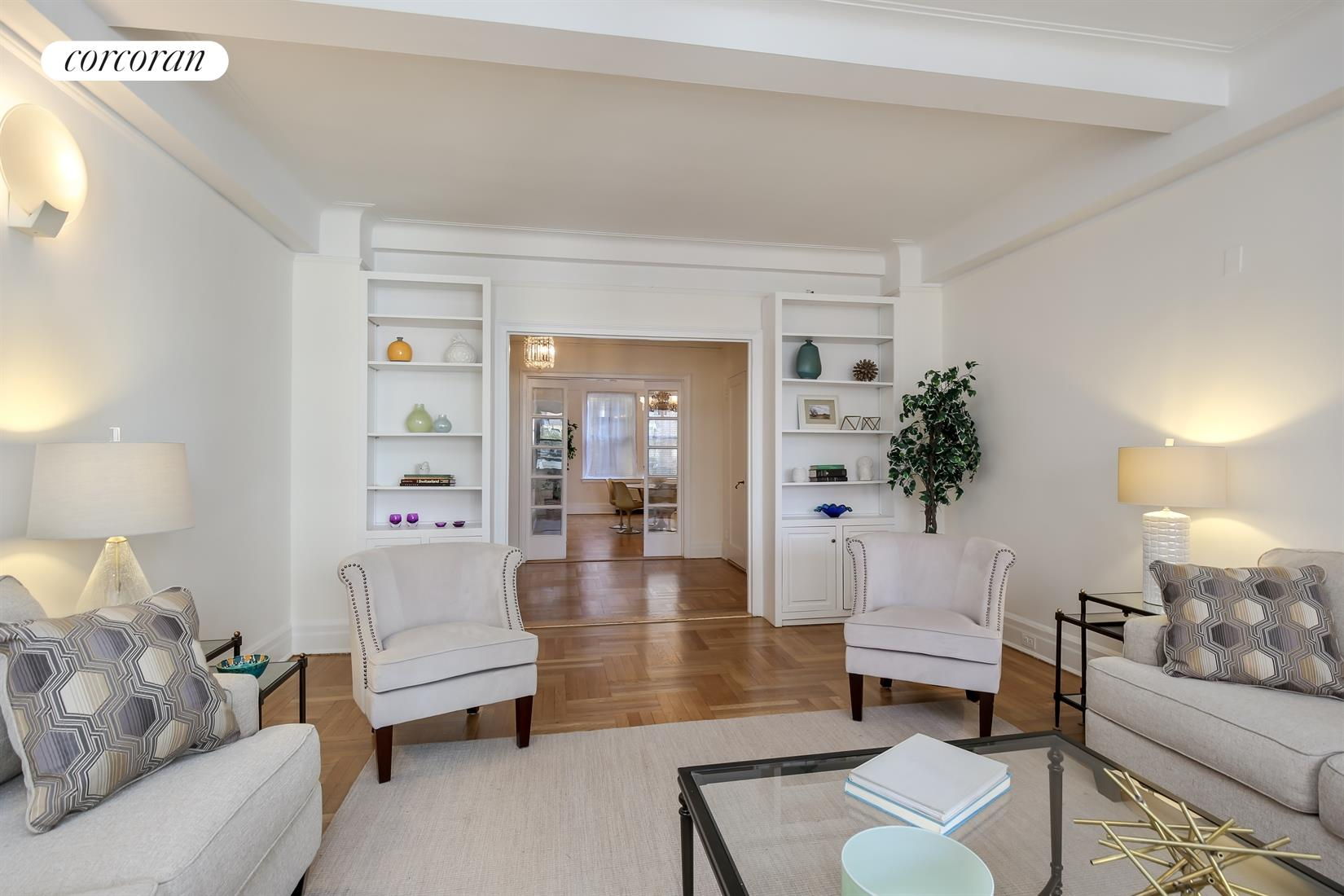 470 West End Avenue, 6A, 24-foot living room with beamed ceiling faces west