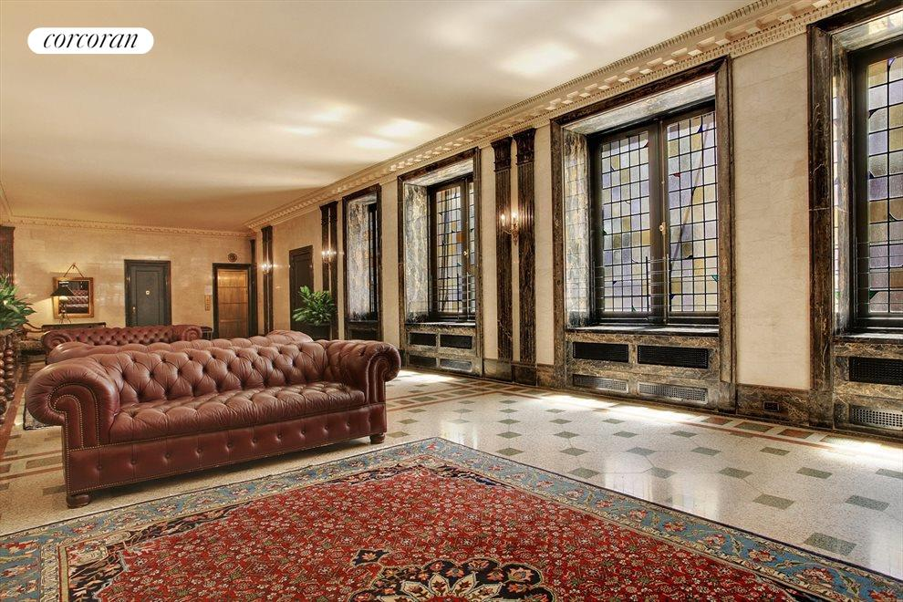 Exquisite lobby with stained glass windows