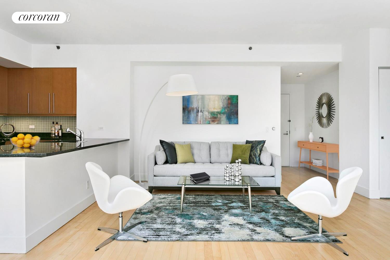 242 East 25th Street, PHA, Sunny Living and Dining Area with Open Kitchen