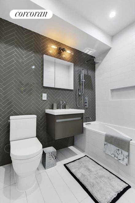 Herringbone Detailed Radiant Heated Bathroom