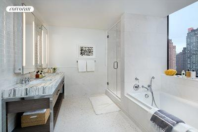 New York City Real Estate | View 389 East 89th Street, #29A | Master bath w/ custom double vanity
