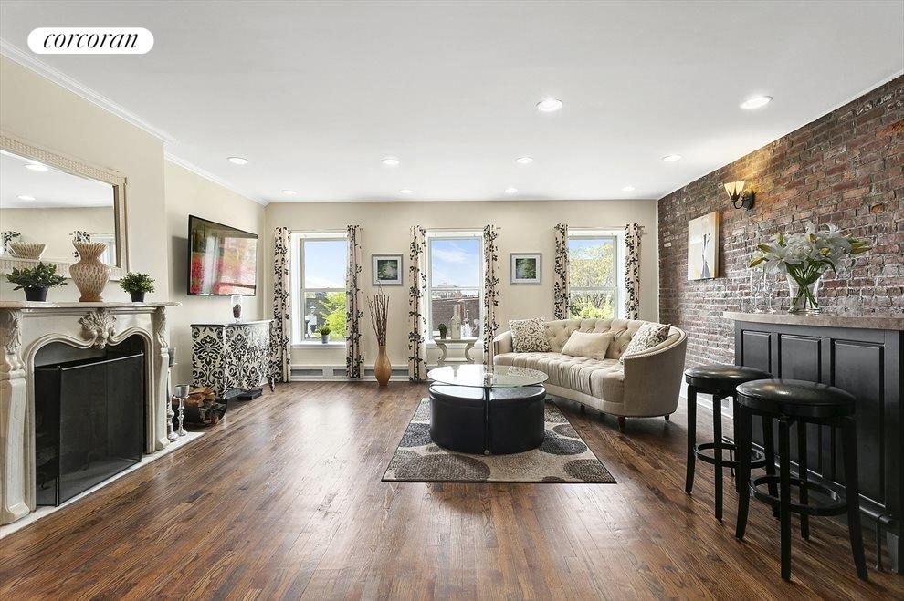 Living room with beautiful wood burning fireplace