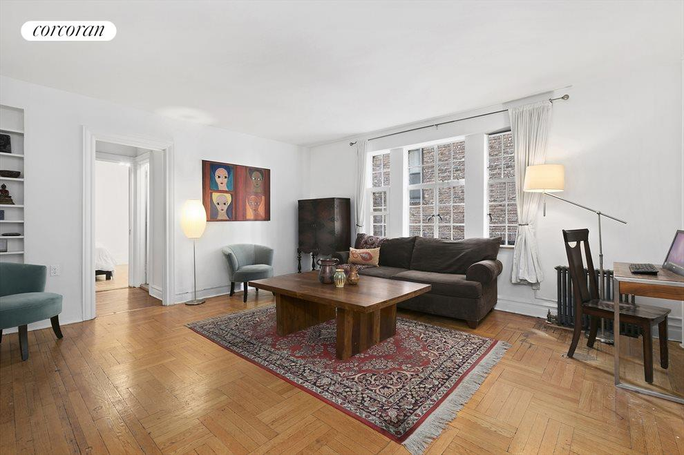 Double-hung windows and hardwood floors throughout