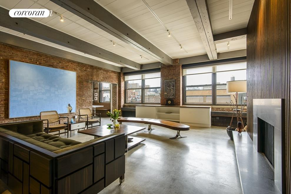 Open loft with woodburning fireplace