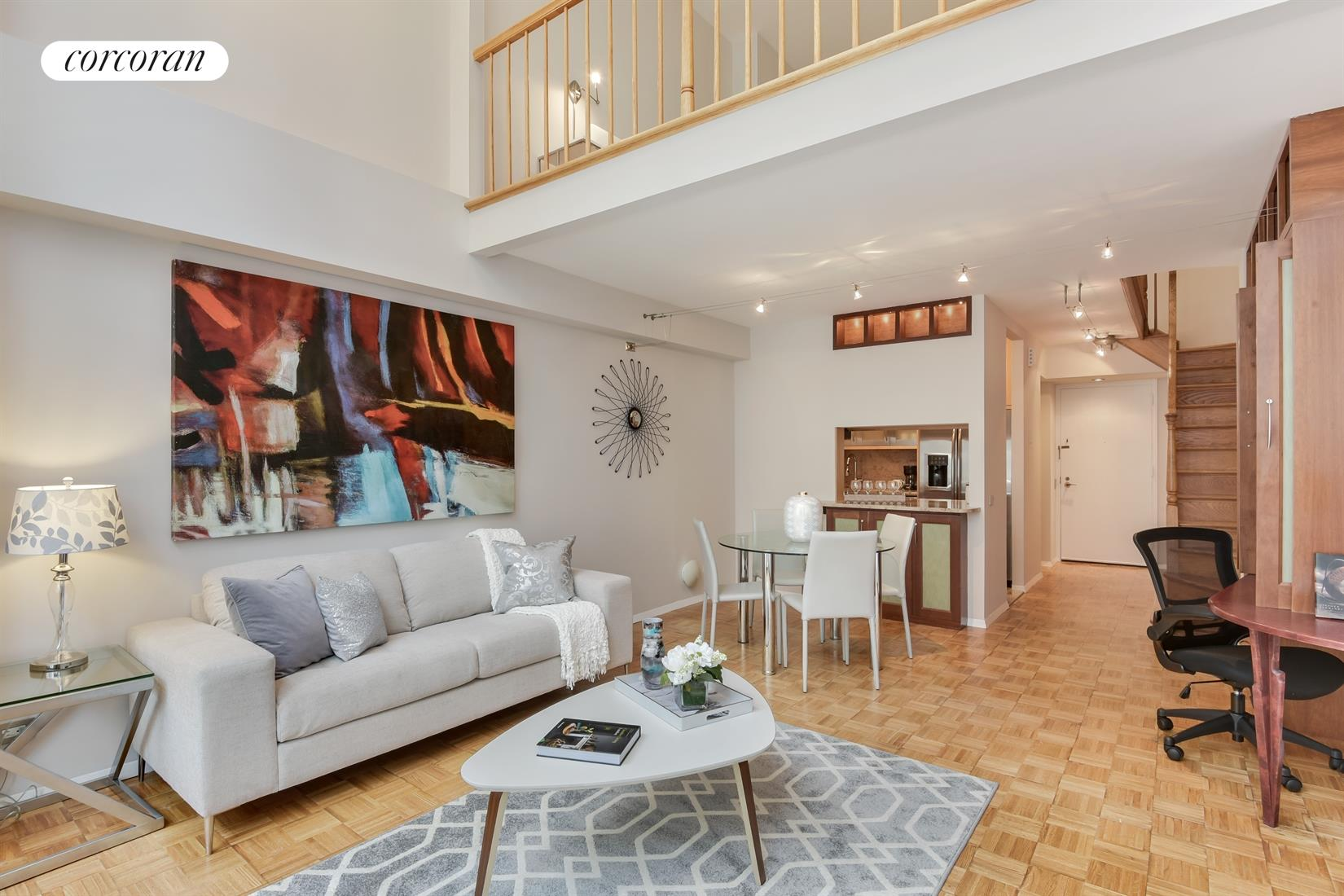 250 West 89th Street, 7E, Living Room with 17' ceilings and wall of windows