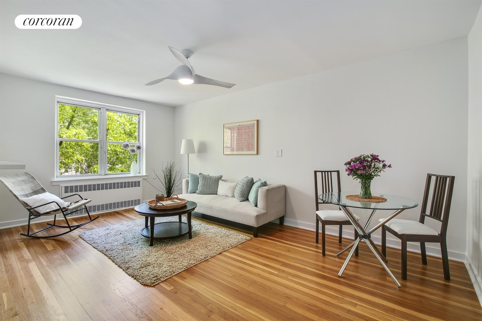 220 Congress Street, 6F, Leafy living room view