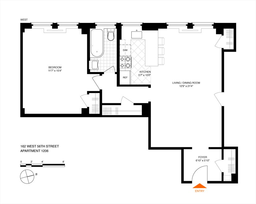 New York City Real Estate | View 162 West 56th Street, #1206 | Floorplan