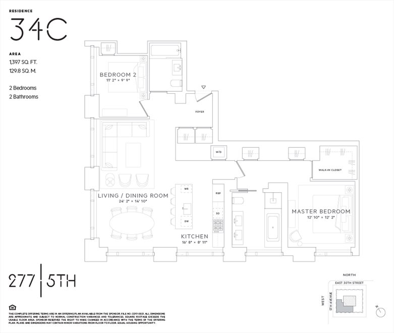 New York City Real Estate | View 277 Fifth Avenue, #34C | Floorplan