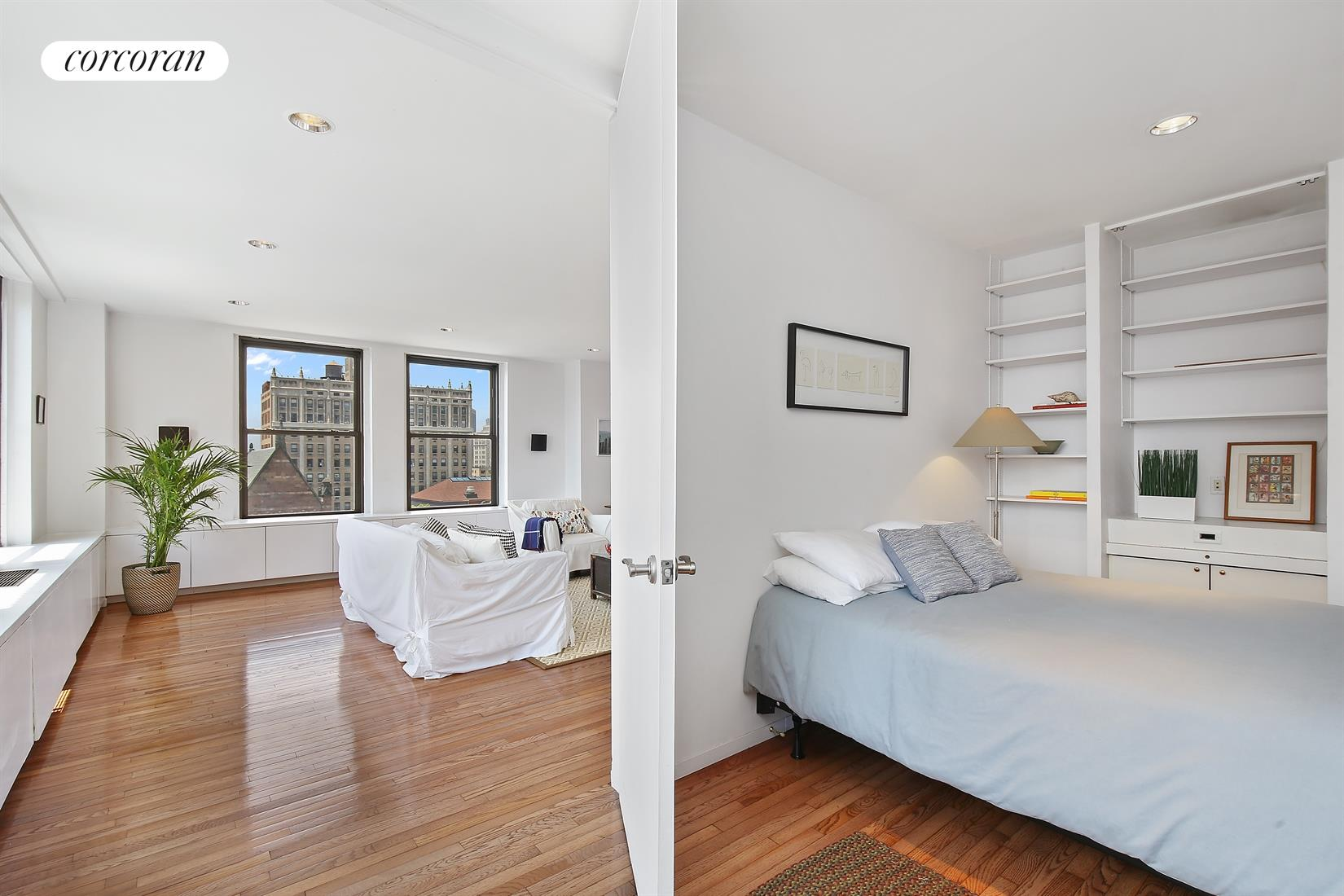 75 Livingston Street, 9E, Sun-flooded corner living room with amazing views