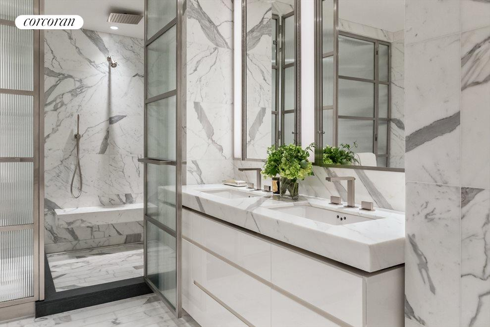 New York City Real Estate | View 70 VESTRY ST, #3F | Master Bath features Statuary Monarch marble