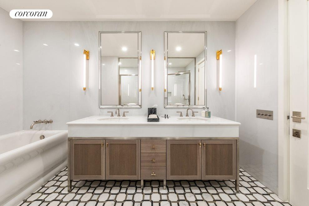 13 ft  master bath with bianco bello marble