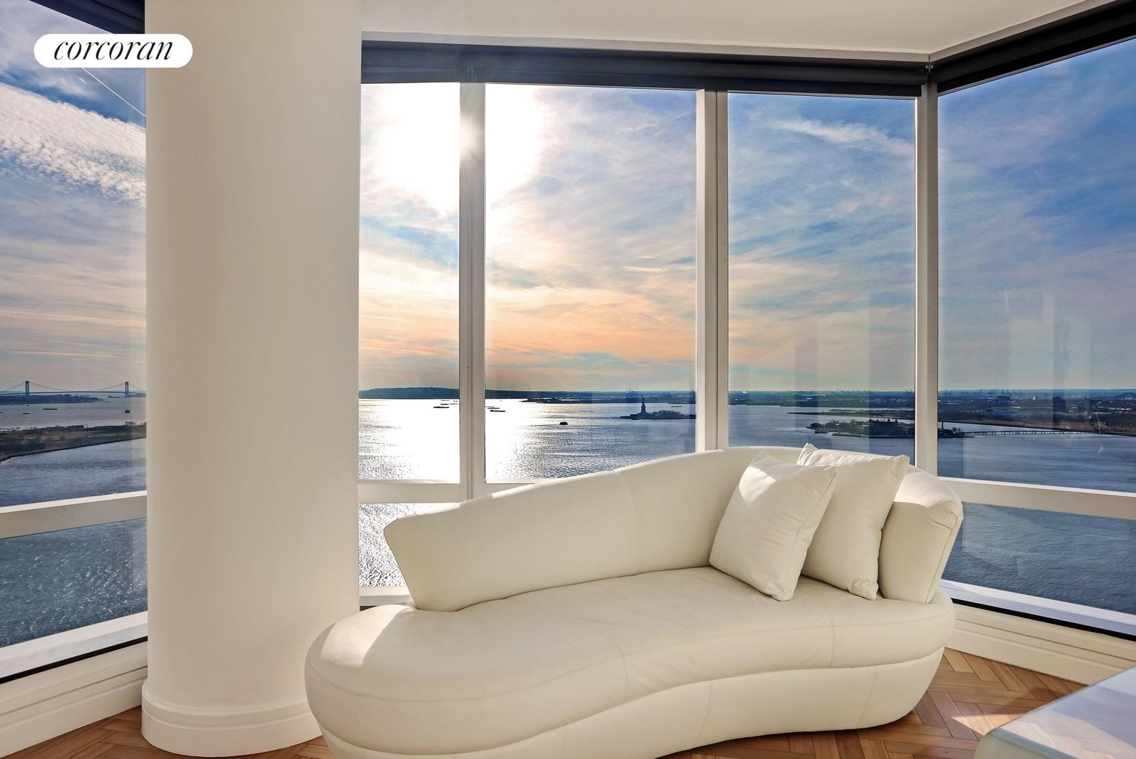 10 West Street, 37G, Living Room with Panoramic Water Views