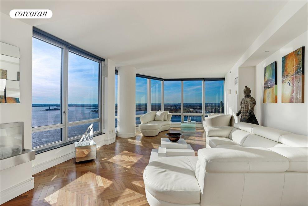 Living Room with Hudson River Views