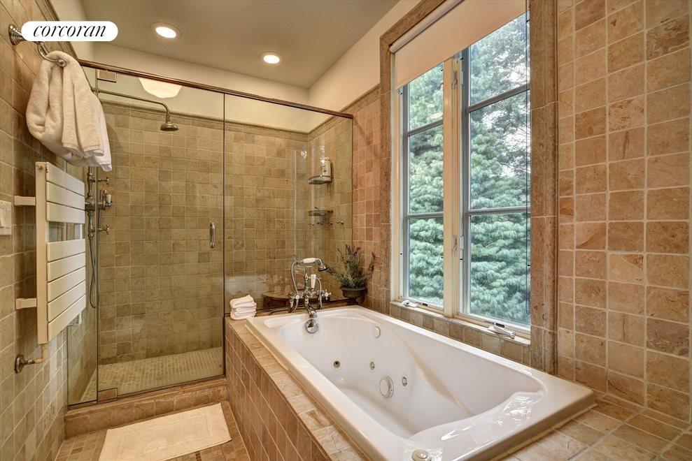 Master bath soaking tub and shower