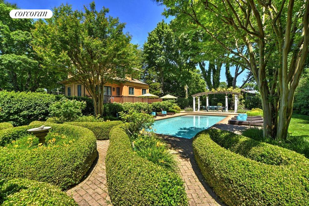 Boxwood parterre and walking path