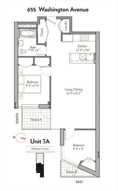 New York City Real Estate | View 655 Washington Avenue, #3A | Floorplan
