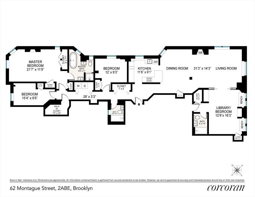New York City Real Estate | View 62 Montague Street, #2ABE | Floorplan