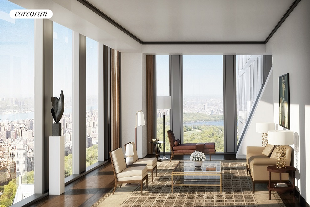 Enjoy panoramic Central Park, Hudson River, and skyline views through floor-to-ceiling windows in this half-floor residence located in the new Jean Nouvel-designed tower rising above The Museum of Modern Art. Nouvels innovative exposed structural system, known as the diagrid, is expressed like a graceful, abstract piece of sculpture creating a one-of-a-kind residence unlike any other in the world. Within this 3,296 SF (306 SM) 3-bedroom home, one finds a gracious entry foyer, massively scaled living room, a palatial master suite and two generous secondary bedrooms with en-suite bathrooms.  With interiors by Thierry Despont, residence 56B also boasts an eat-in, windowed kitchen with custom cabinetry by Molteni, statuary marble countertops and backlit backsplash, and complete suite of appliances by Miele and Sub-Zero. The corner master bedroom suite includes an extremely spacious master bath that features Verona limestone slab floors and baseboard, and Noir St. Laurent marble and Peruvian golden travertine feature walls.  A short walk to Fifth Avenue and mere blocks from Central Park, 53 West 53 is a collection of 145 unique residences with super-luxury, hotel-like services and amenities. Initial Occupancy Summer 2019.