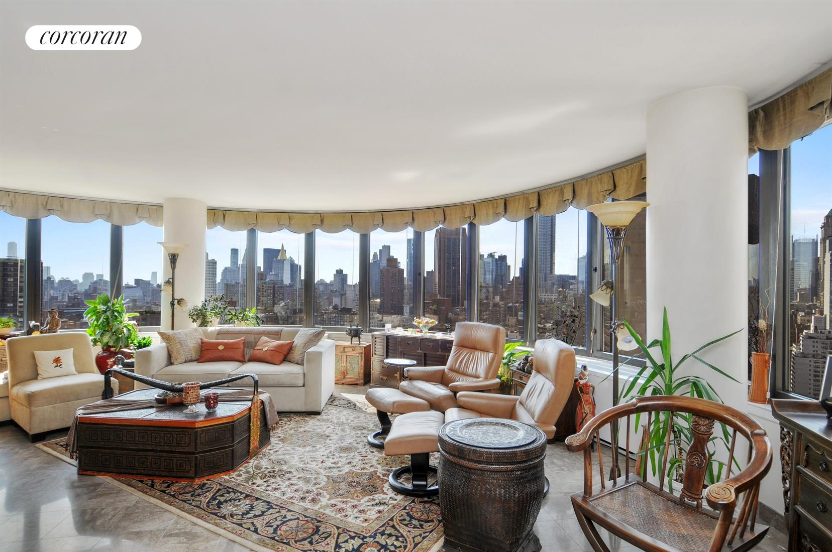 330 East 38th Street, 33CD, Living Room with 15 Windows