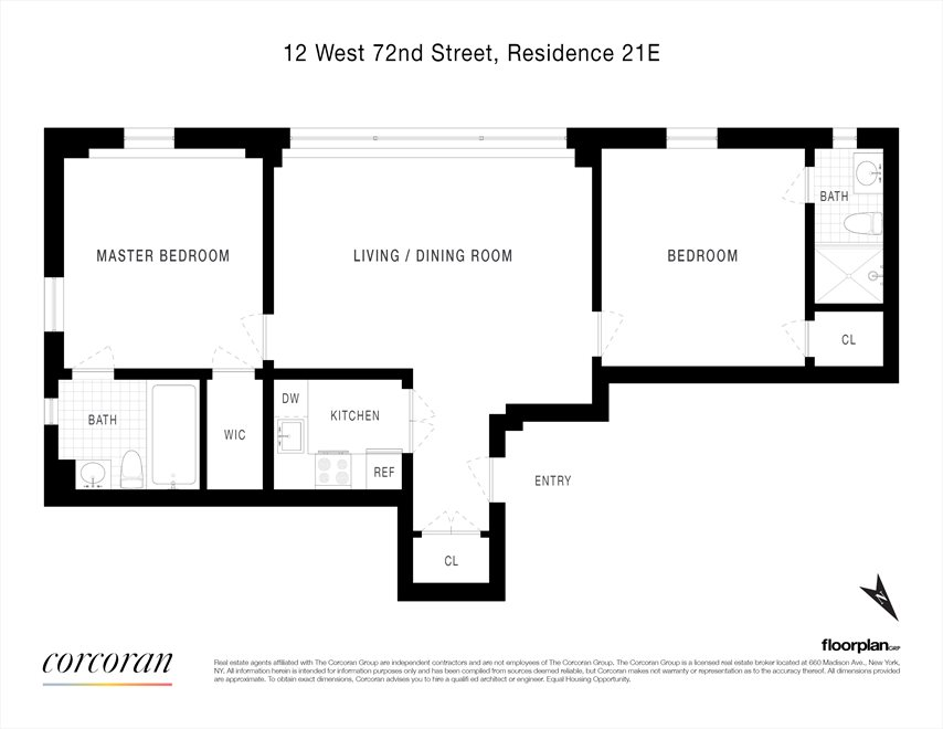 New York City Real Estate | View 12 West 72nd Street, #21E | Floorplan