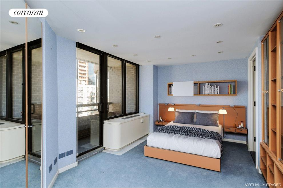 New York City Real Estate | View 330 East 38th Street, #36E | Bedroom with Balcony