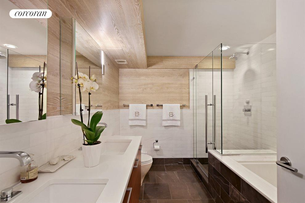 Marble Master Bathroom with Five Fixture Bath