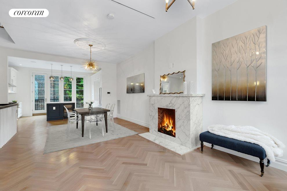 New York City Real Estate | View 226A Vernon Avenue | Open Living w/ Herringbone Detail