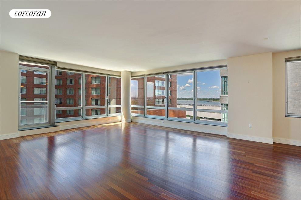 Expansive Living Room with Hudson River Views