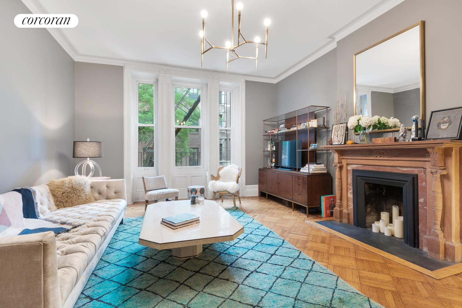50 West 9th Street, 2A, Living Room with Wood Burning Fireplace