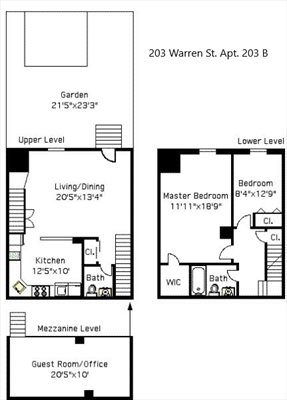 New York City Real Estate | View 203 Warren Street, #203B | Floorplan