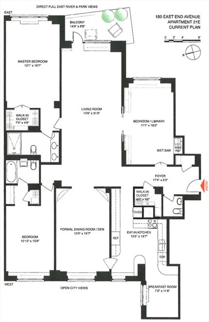 New York City Real Estate | View 180 East End Avenue, #21E | Floorplan 1