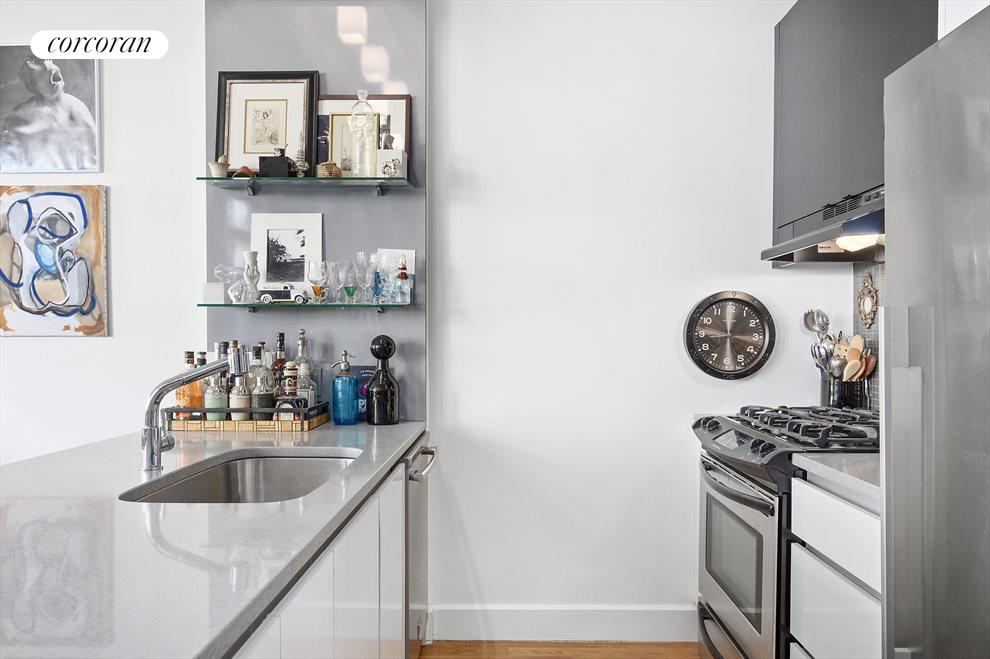 Caesarstone counters and steel appliances