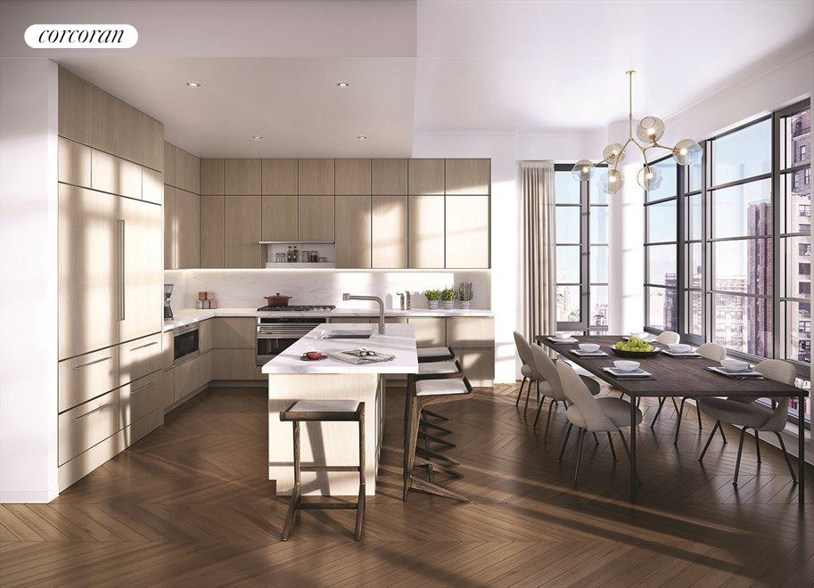 Open kitchen to dining area