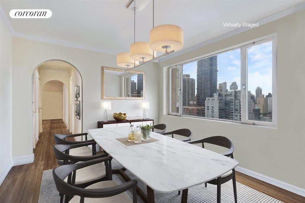 New York City Real Estate | View 180 East End Avenue, #PHG | Virtually Staged Dining Room