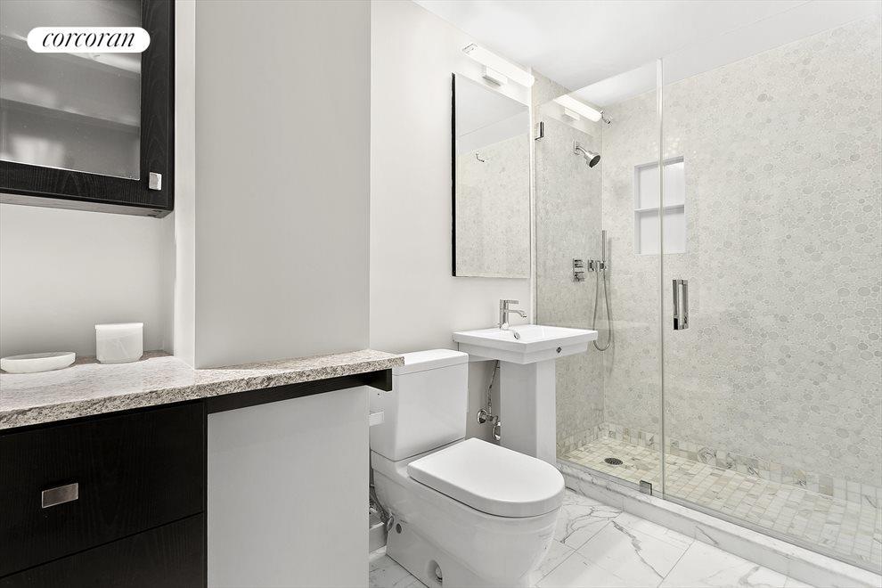 Spacious bathroom with Italian marble floors