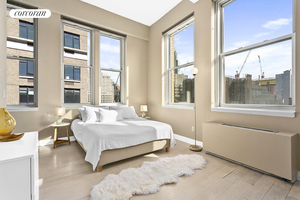 6 over-sized windows in the huge bedroom