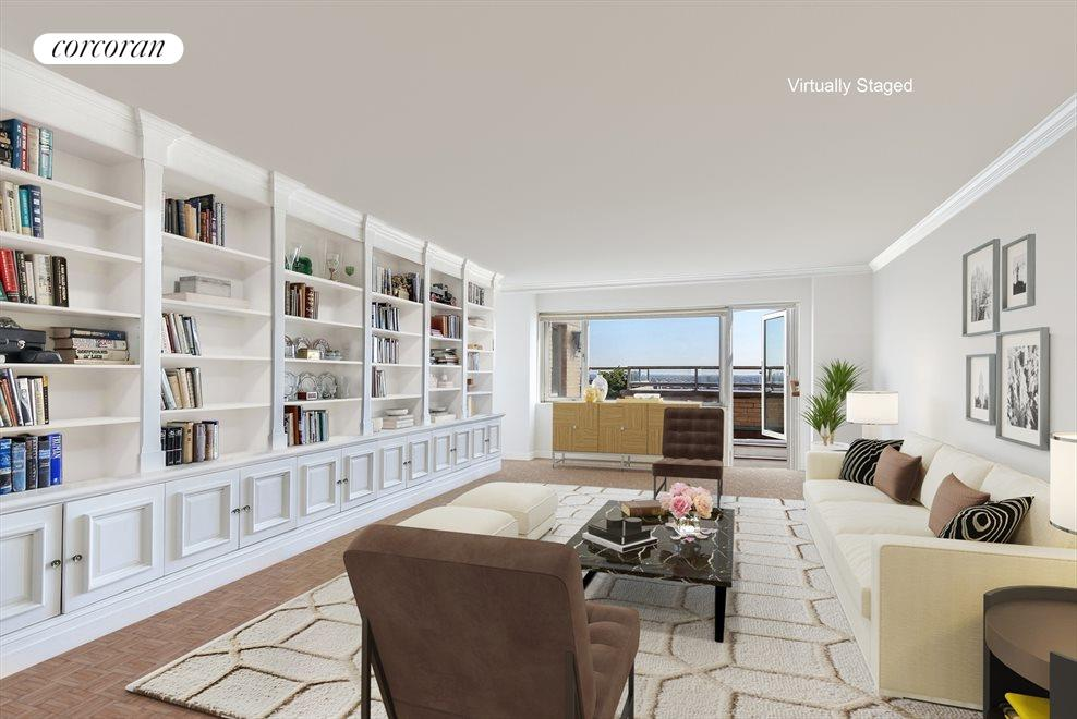 New York City Real Estate | View 180 East End Avenue, #PHG | Virtually Staged Living Room
