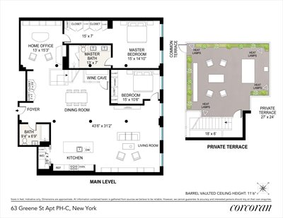 New York City Real Estate | View 63 GREENE ST, #PHC | Floorplan