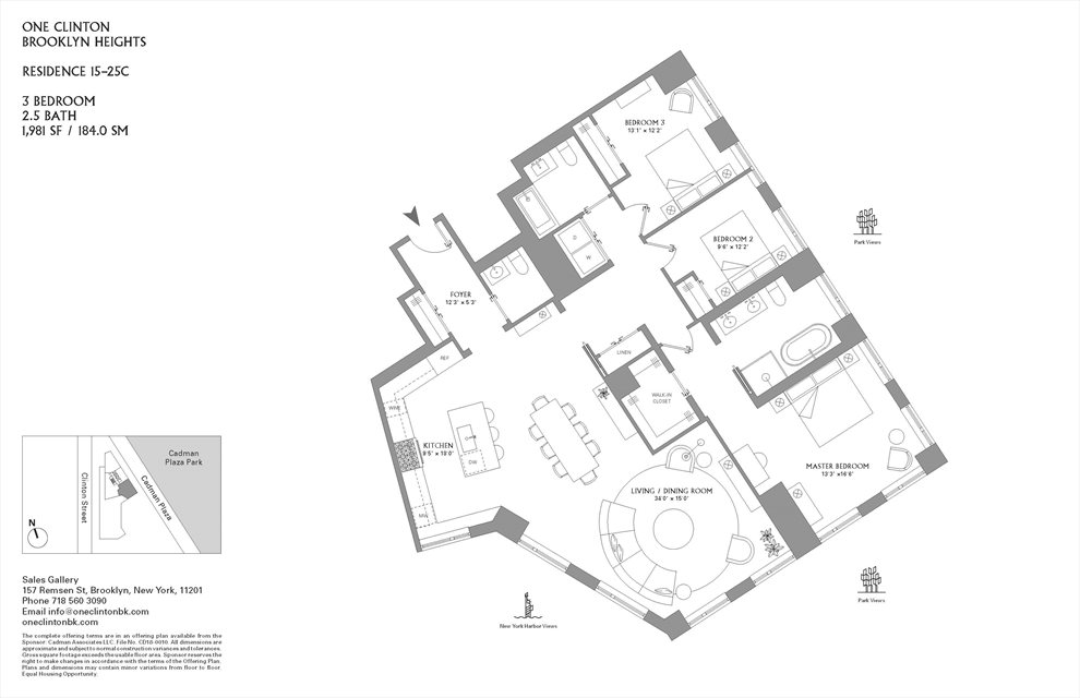 New York City Real Estate | View 1 Clinton Street, #15C | Floorplan